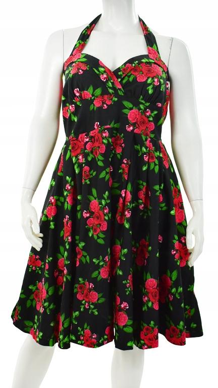 890ba5640a aZ7651 NOWA sukienka w róże w stylu pin-up 54 56 - 7797286093 ...