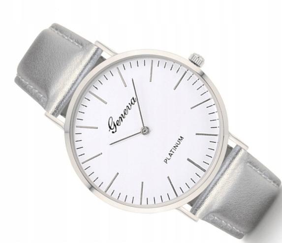 Damski zegarek srebrny Geneva szary pasek METALIC