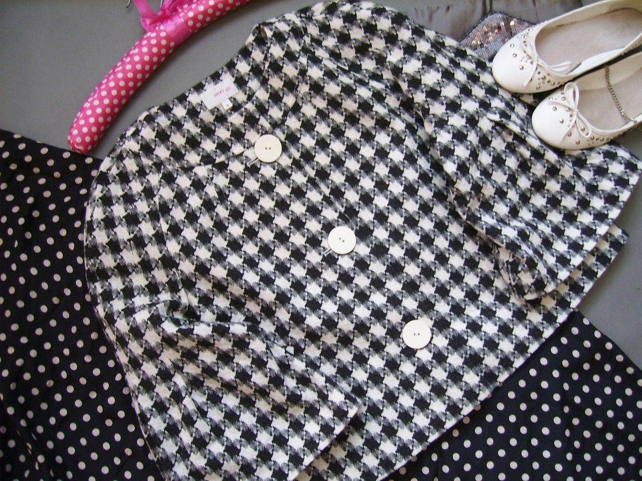 Płaszcz w pepitkę black&white NEXT 42 wiosna