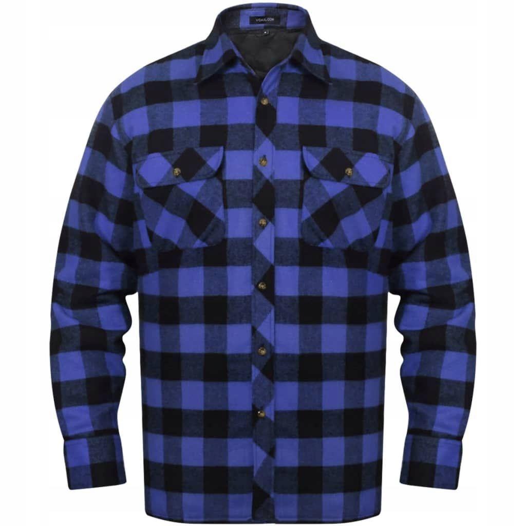 Męska ocieplana koszula flanelowa w niebiesko-czar