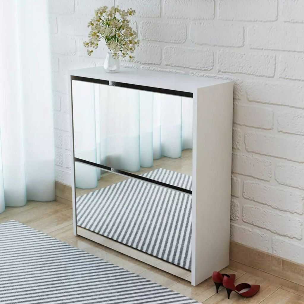 Szafka na buty z 2 półkami i lustrem, biała, 63x17