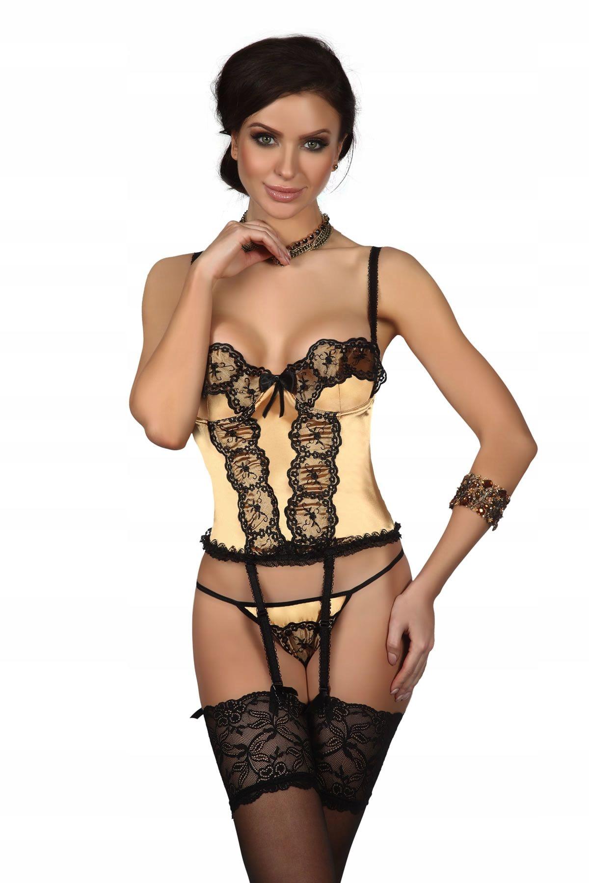 Złoty czarny koronkowy sexowny gorset atłas L XL