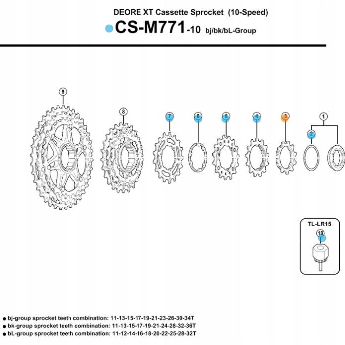 SHIMANO KORONKA KASETY XT CS M771 11z DO 11-34/36