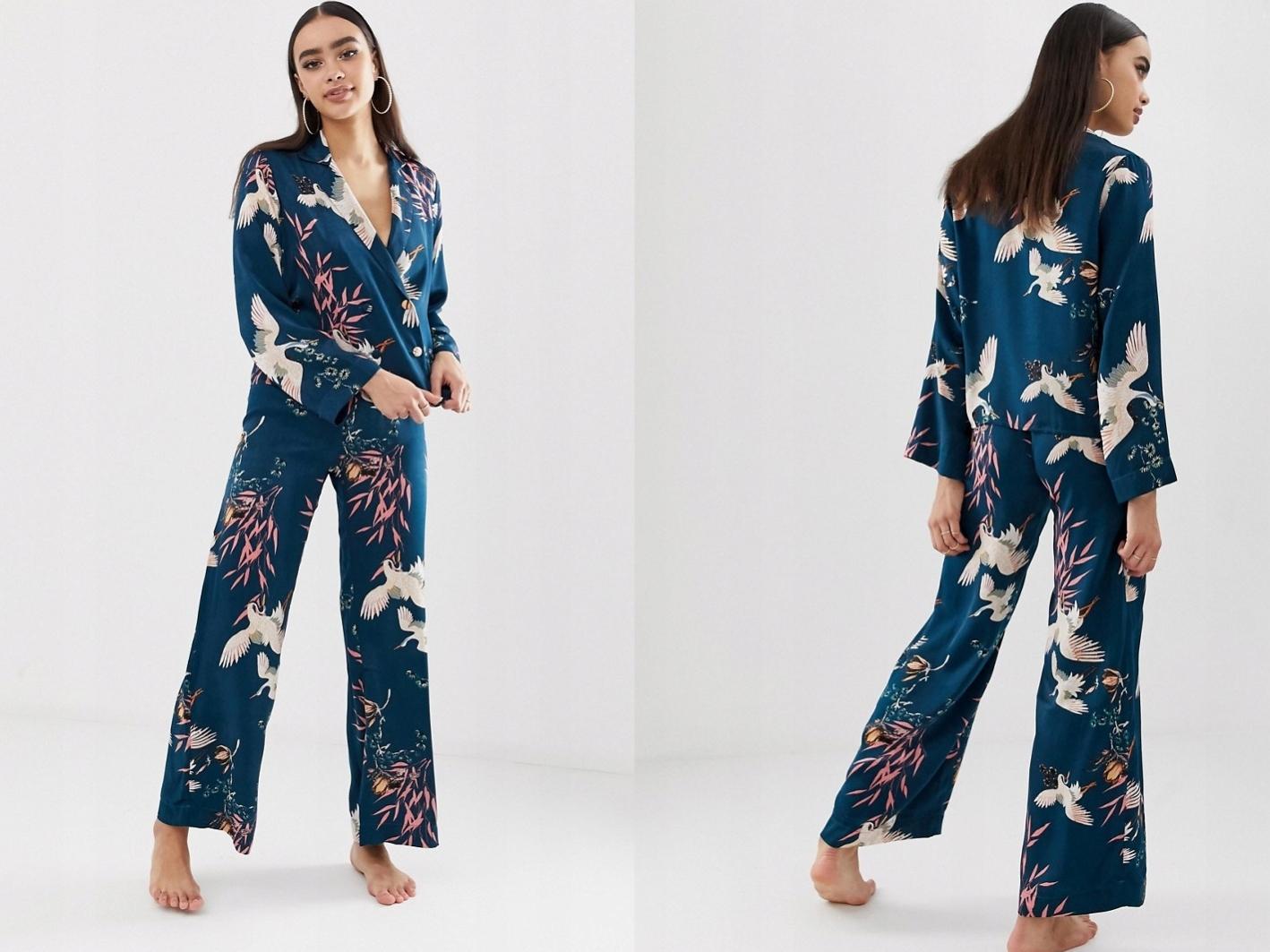 Piżama w kwieciste wzory spodnie i bluzka S/36