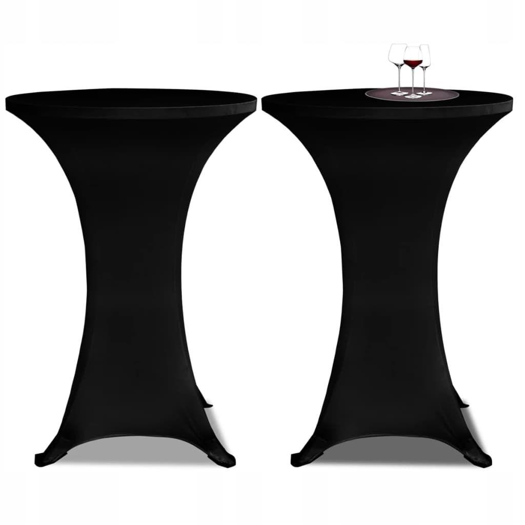 Obrus na stół barowy 60 cm czarny rozciągany 2 szt
