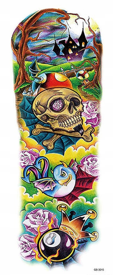 DUŻY MOCNY Tatuaż tymczasowy QB-3015 RĘKAW RAMIĘ