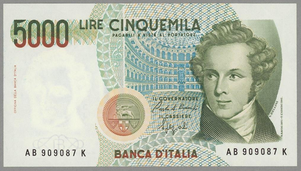 Włochy 5000 Lire 1985 UNC