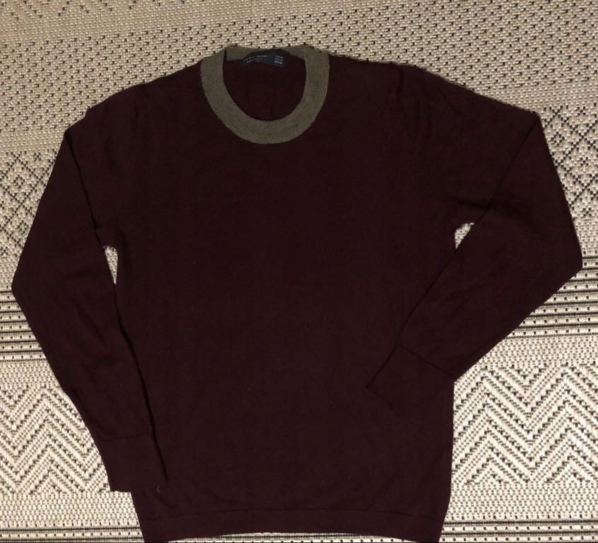 Sweter zara wiosna bordo modny cienki M okazja hit