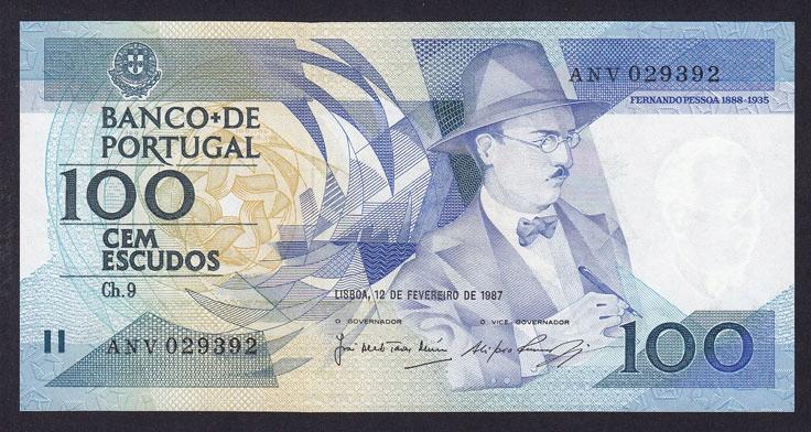 PORTUGAL 100 ESCUDOS 1987 P-179b UNC
