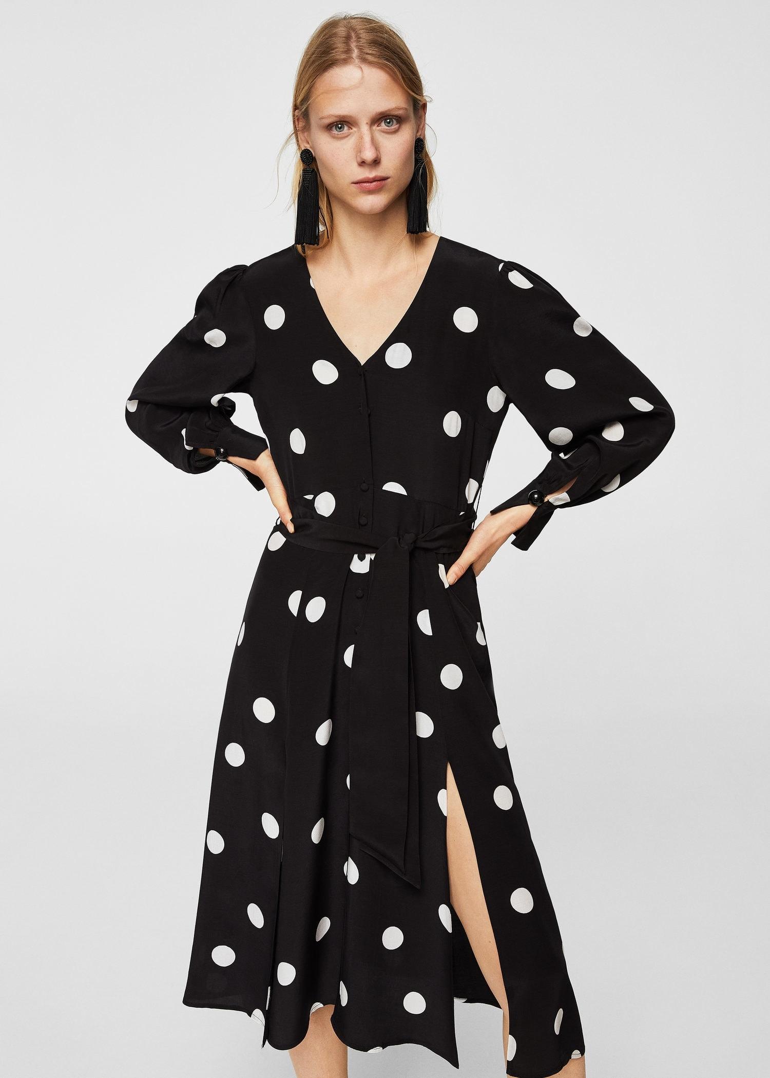 4d471d61ab Mango czarna długa sukienka w białe grochy blogi S - 7750859303 ...