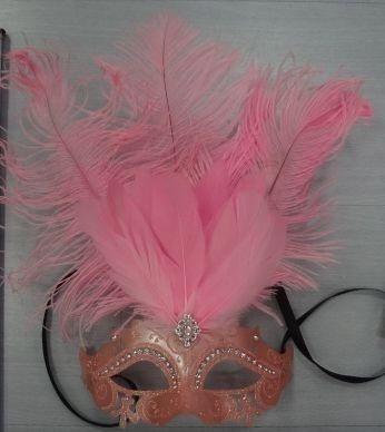 Maska z piórami różowa Rosalinda