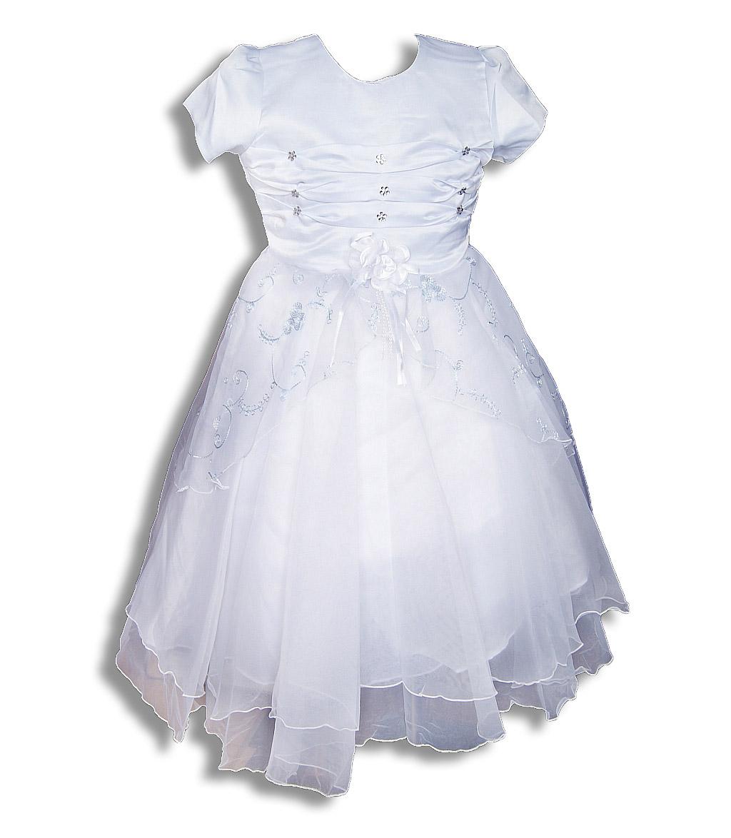 e1068cb681 110 116 Elegancka biała sukienka dla małej damy - 7461911328 ...
