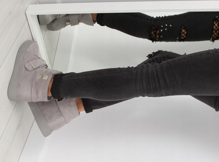 Sneakersy damskie szare NC158 GREY ciepłe Koturn