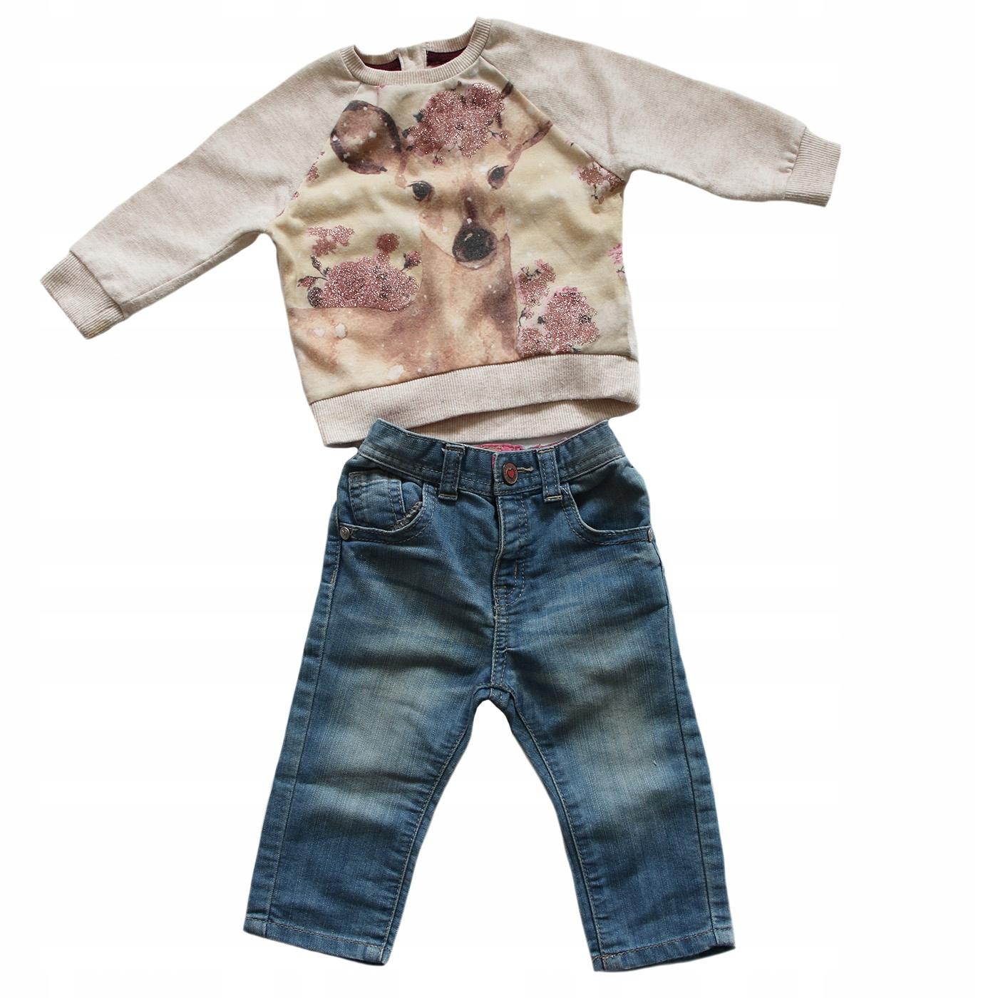Jeansy Mothercare + bluza z sarną F&F 6-9 mc