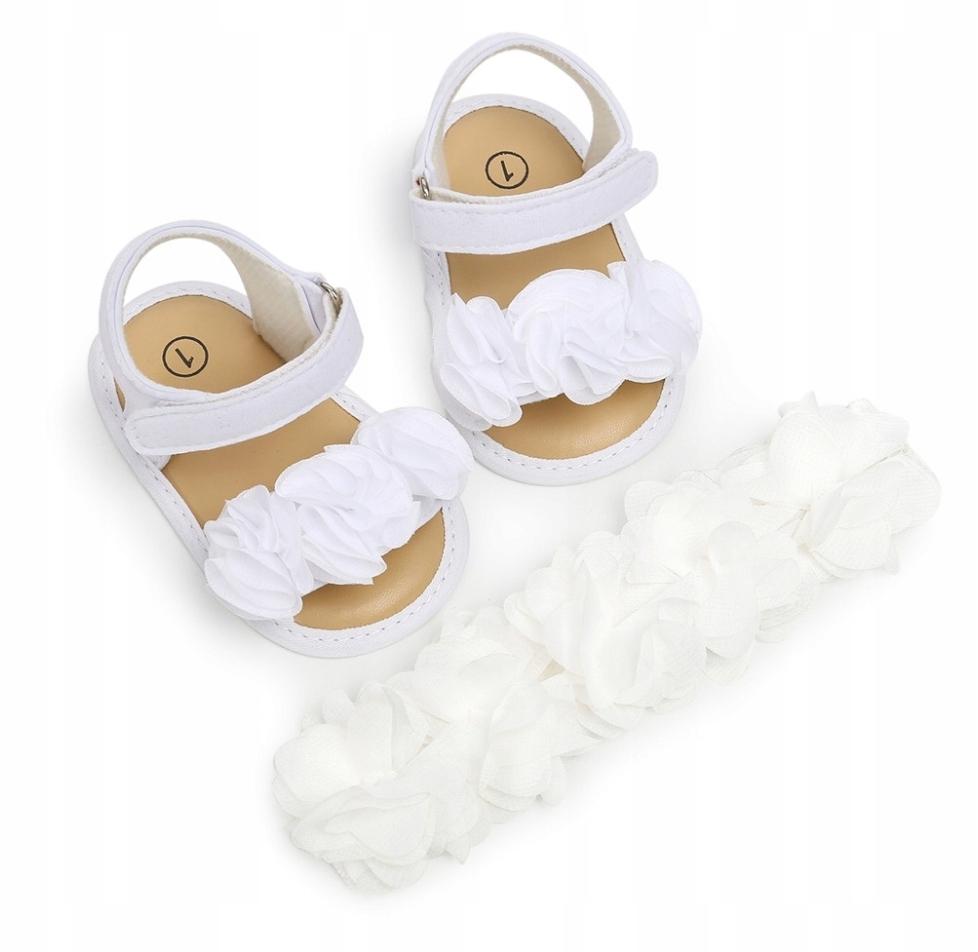 Sandałki+opaska 12-18 M niechodki buciki wesele