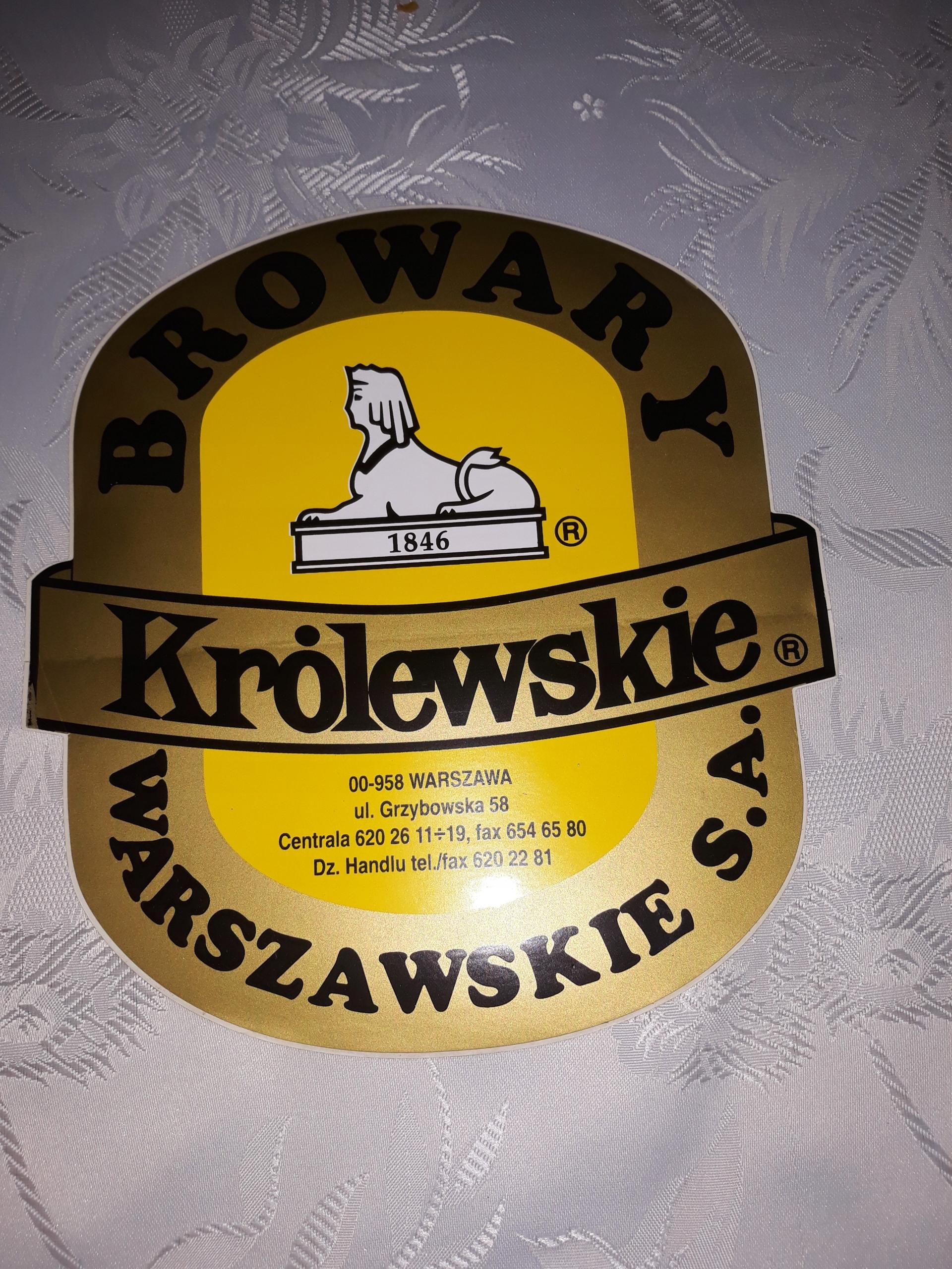 5 szt. naklejki Browary Warszawskie Królewskie