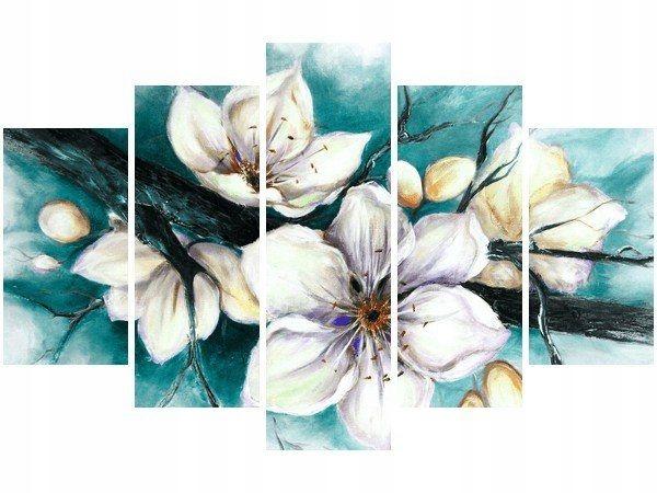Obraz druk Cherry Tree kwiaty wiśni turkus