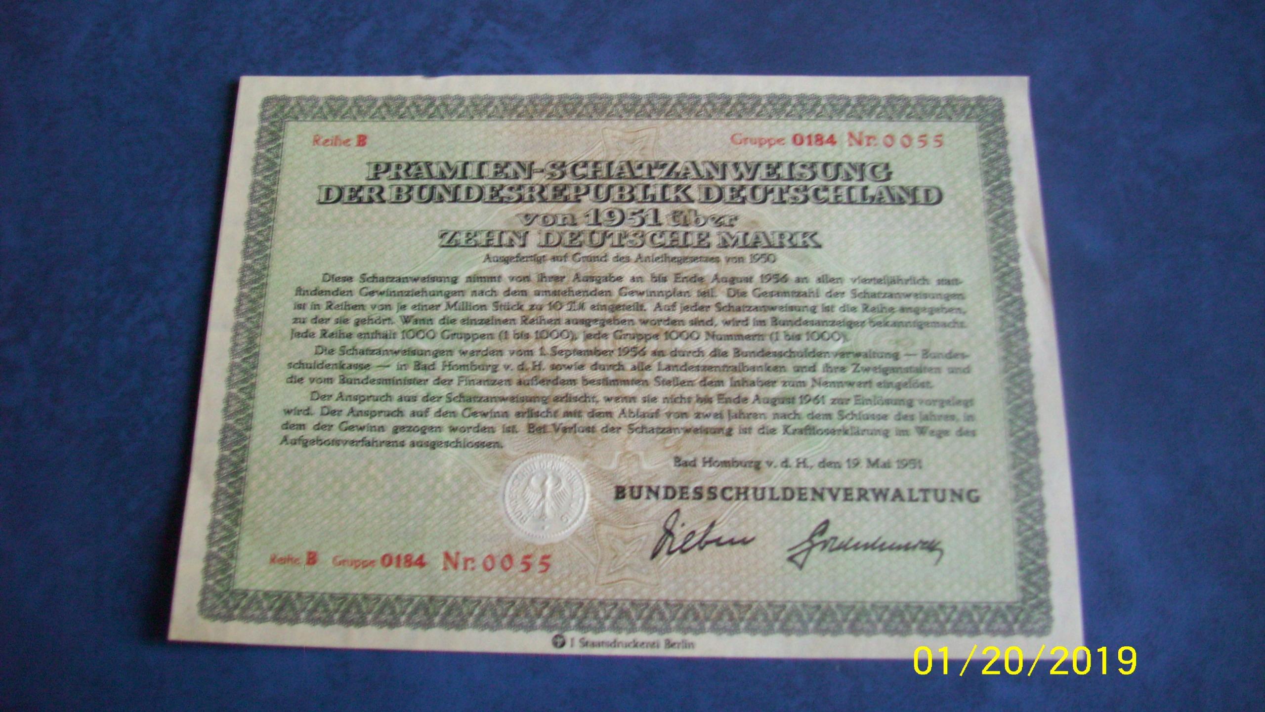 akcja na 10 DM BAD Homburg 1951
