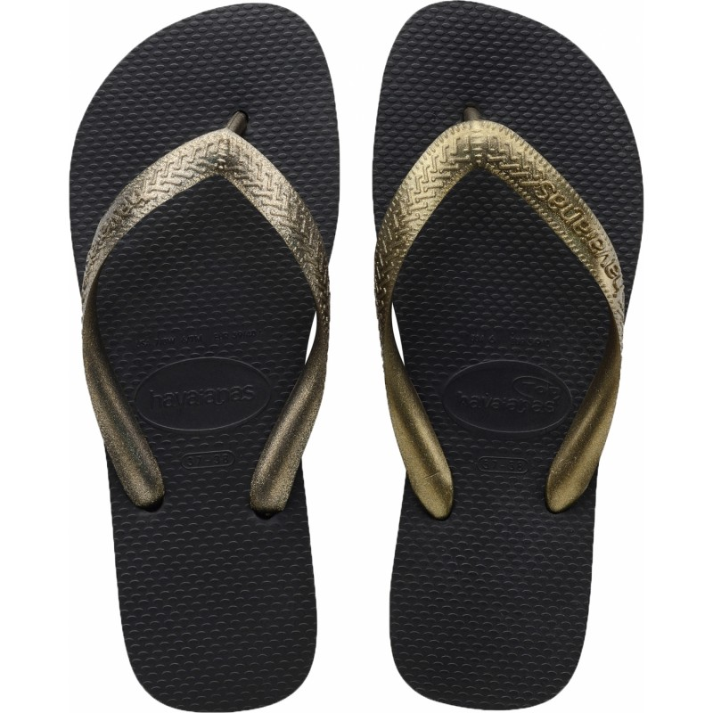 JAPONKI HAVAIANAS TOP TIRAS BLACK GOLDEN BRA 37/38