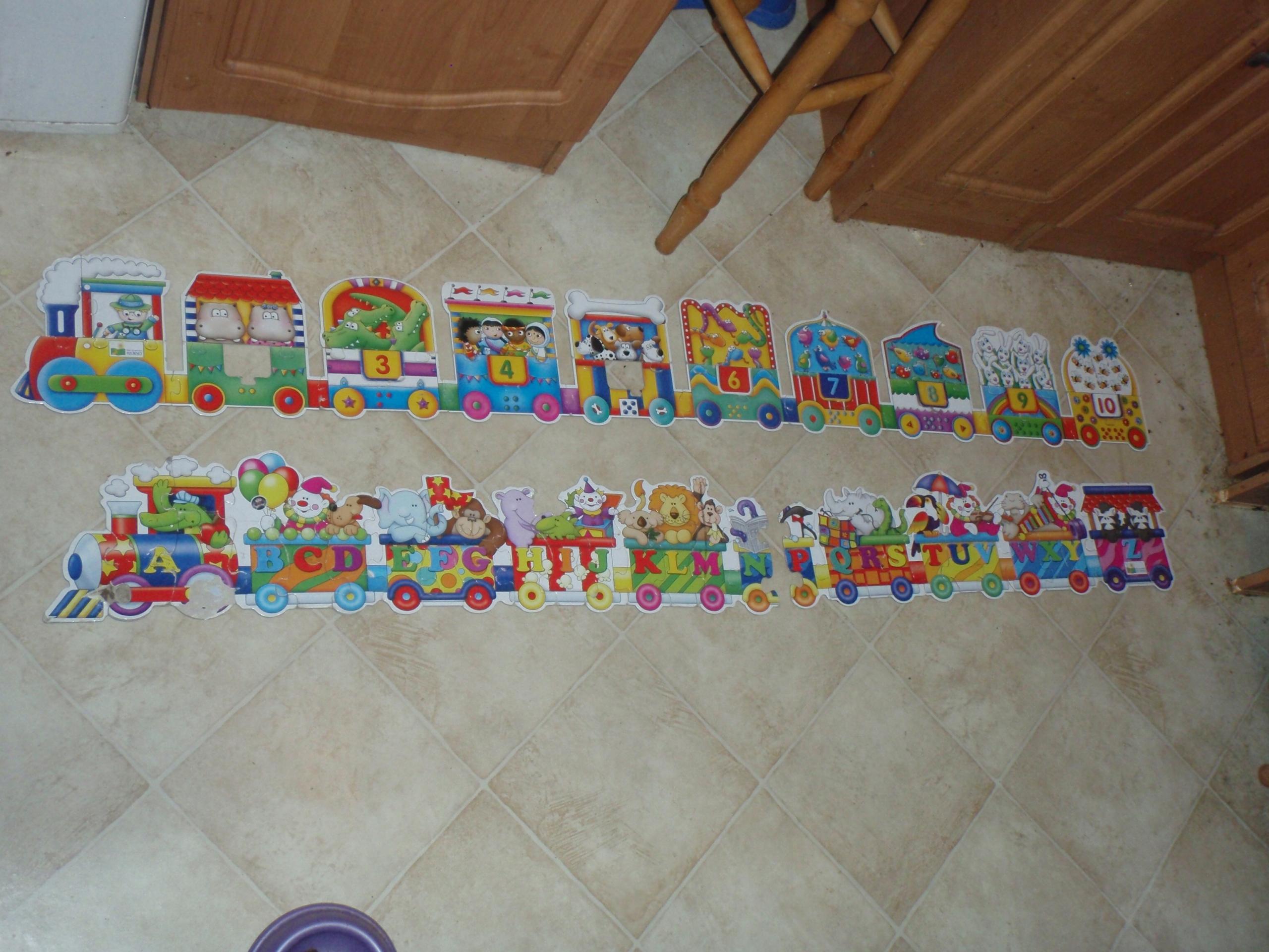 Puzzle dla dzieci: Pociągi Litery i Cyfry 30 + 30