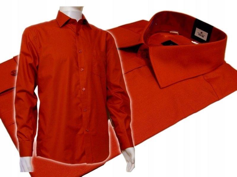 SALE Elegancka koszula czerwona SLIM 40/41 182-188