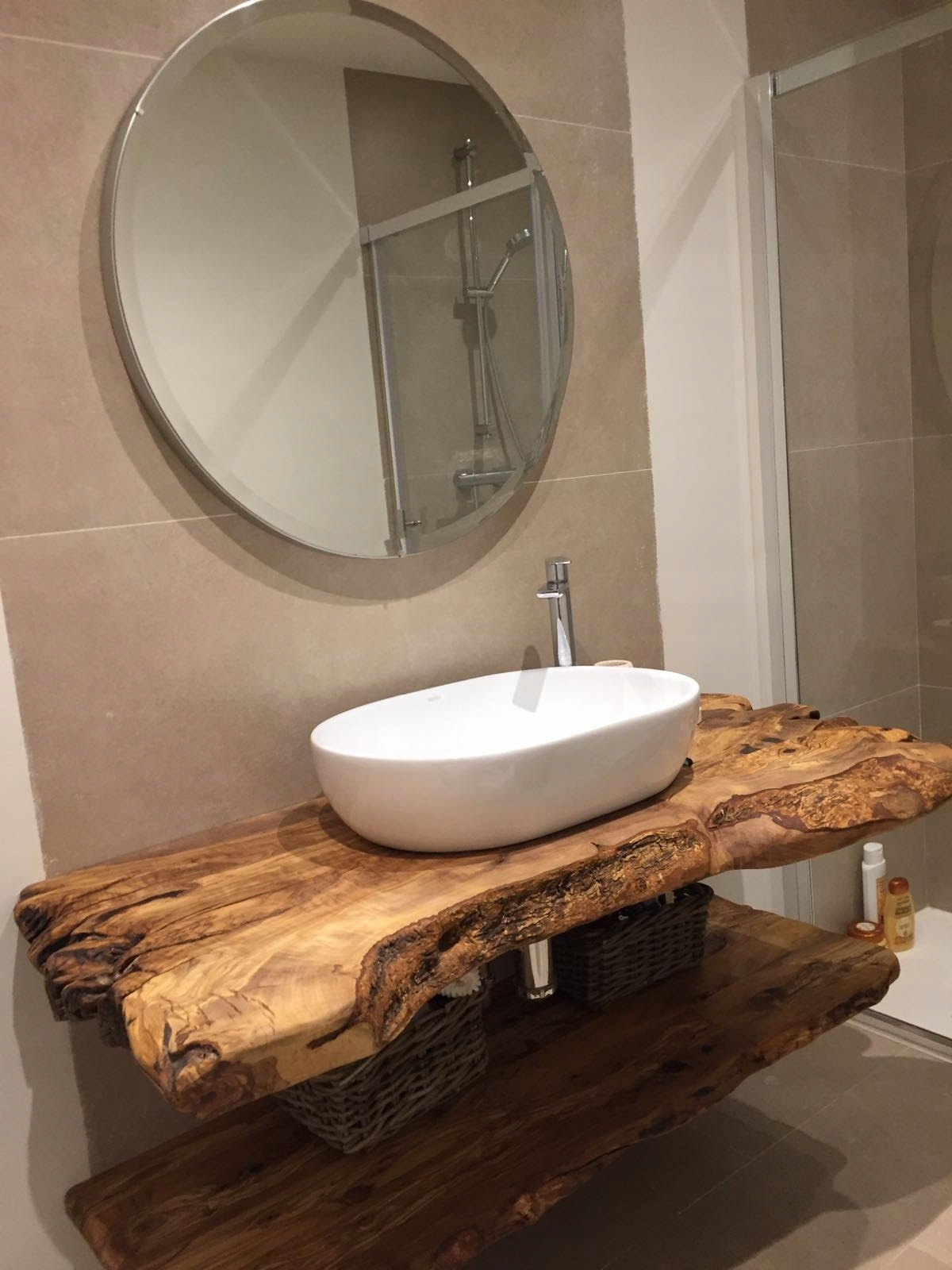 Blat Do łazienki Półka Z Litego Drewna 7893637814