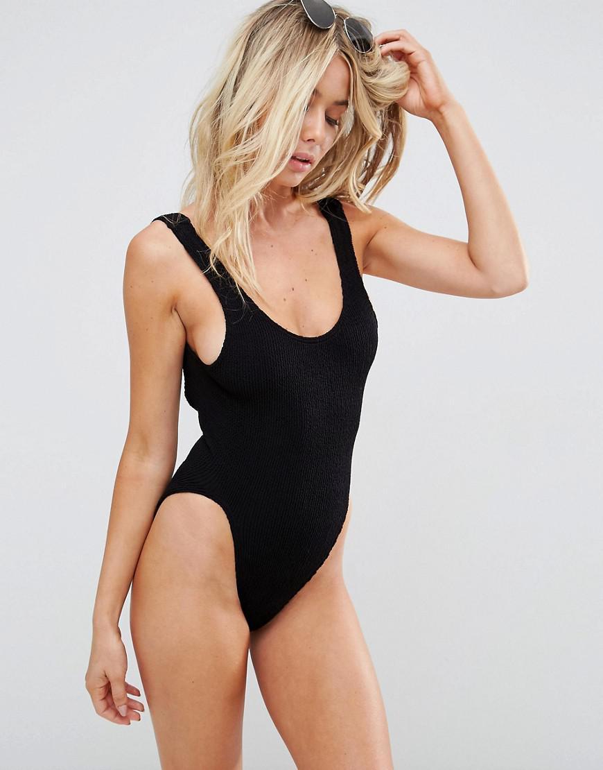 ASOS czarny marszczony strój kąpielowy S M NOWY