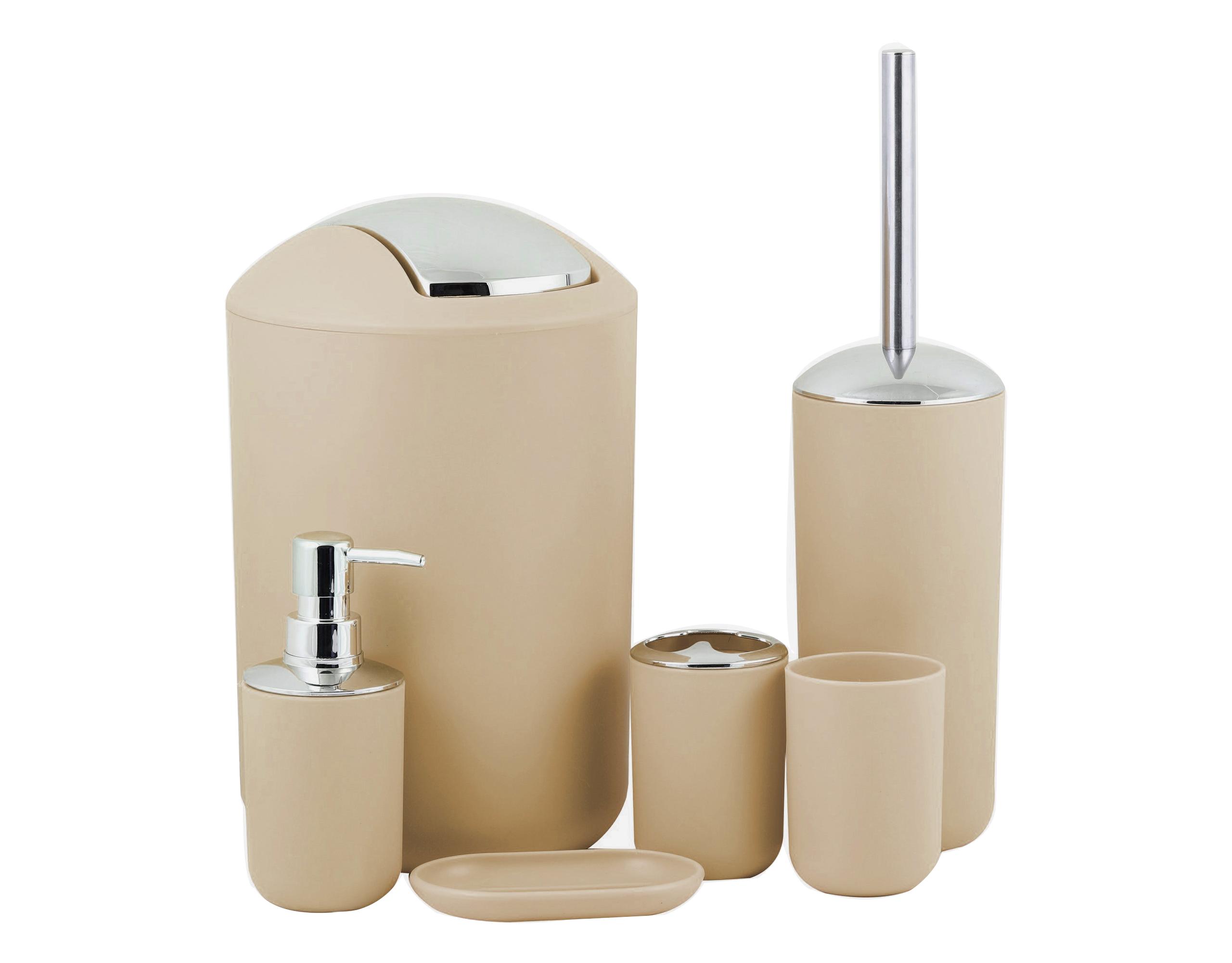 Akcesoria łazienkowe 6 Elementów Zestaw Beżowy 7383913528