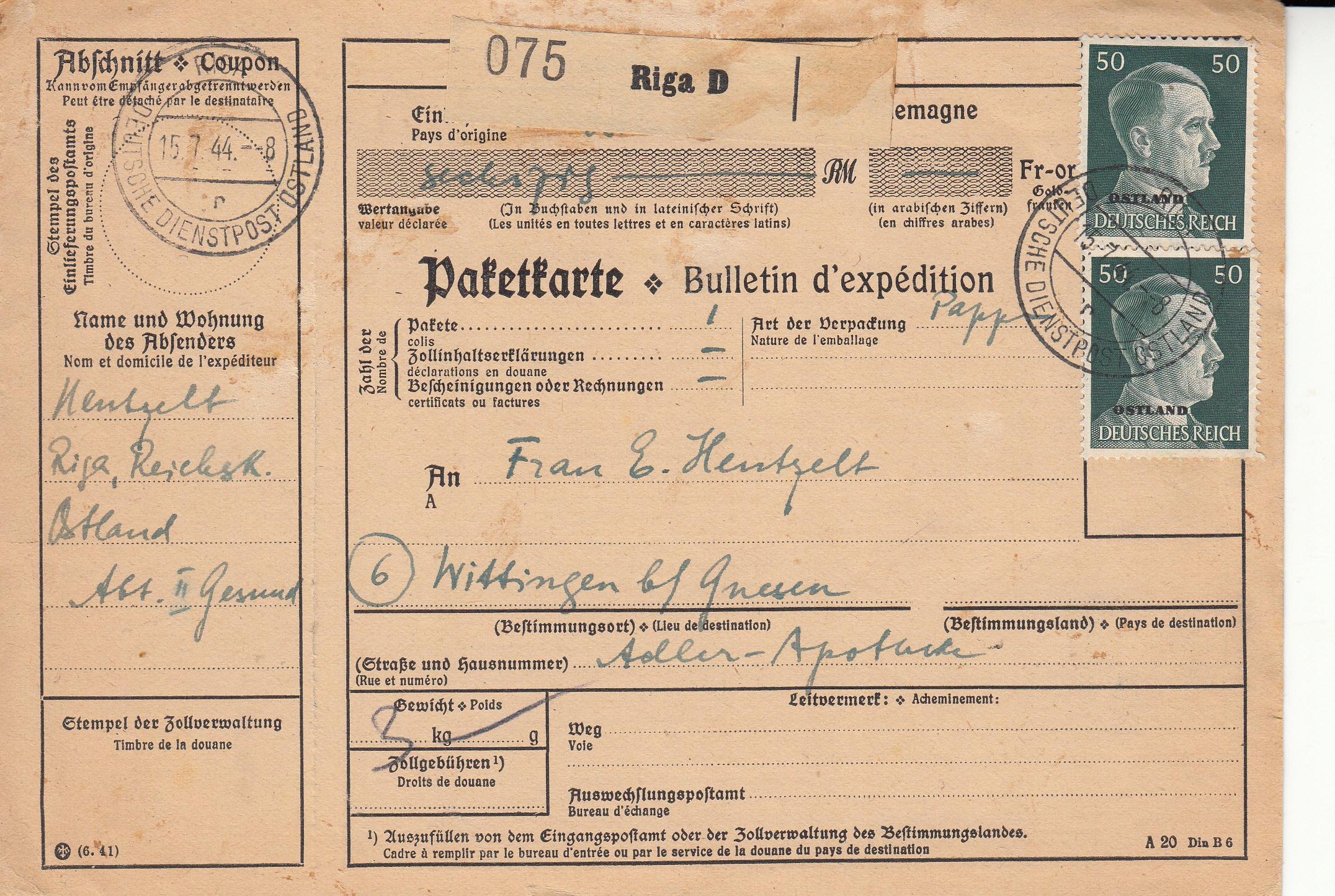 Ostland przekaz paczkowy Ryga-Gniezno 1944r