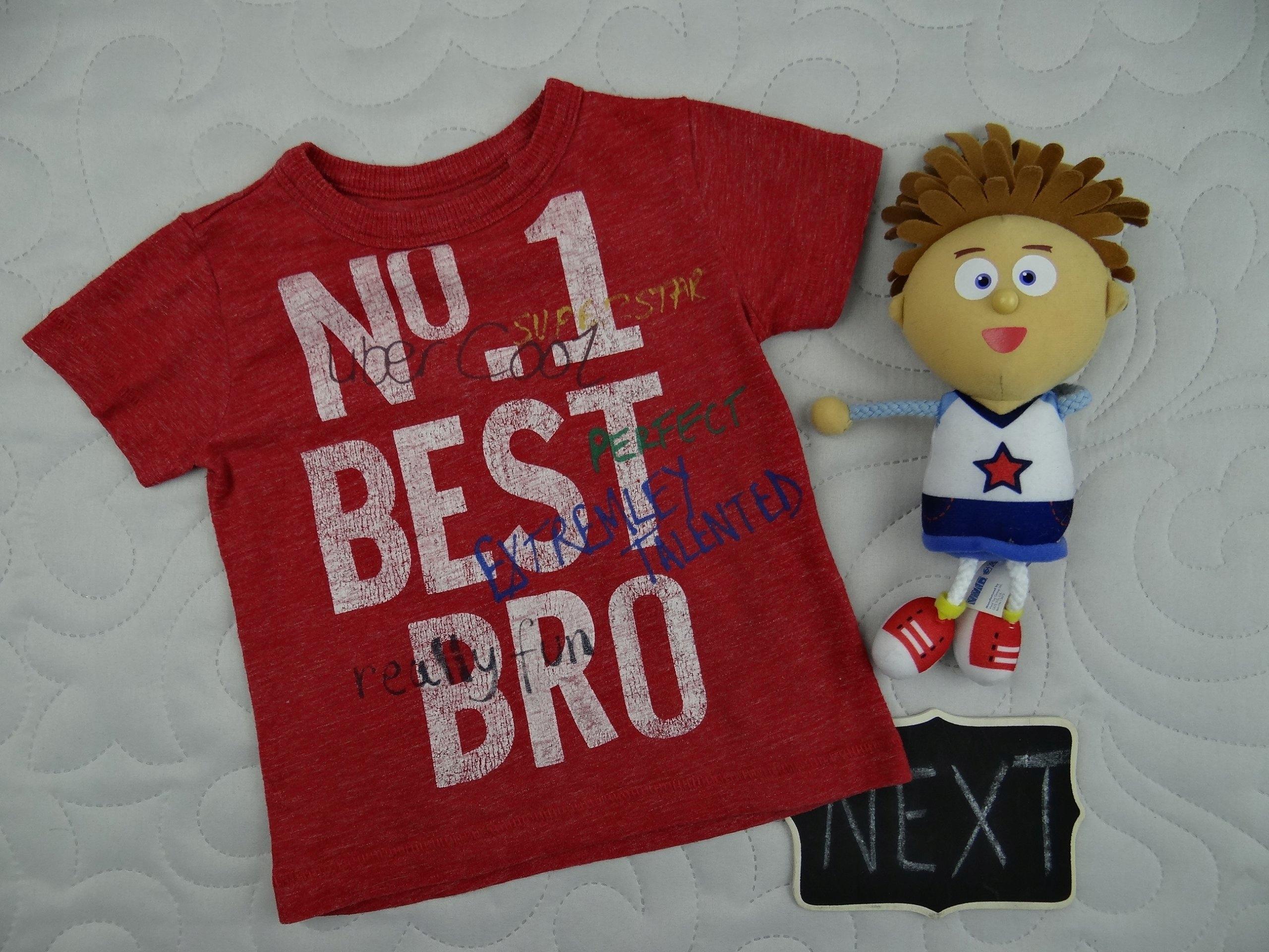 NEXT koszulka t-shirt BEST BRO napisy 3/6M 68cm 2N