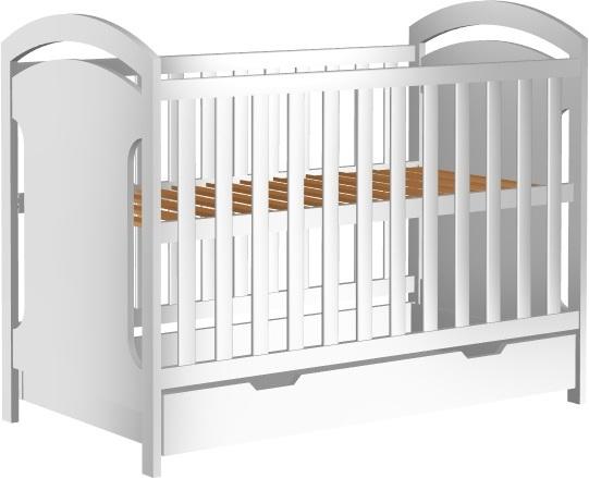 Łóżeczko dziecięce ADAŚ II szuflada 120x60cm białe