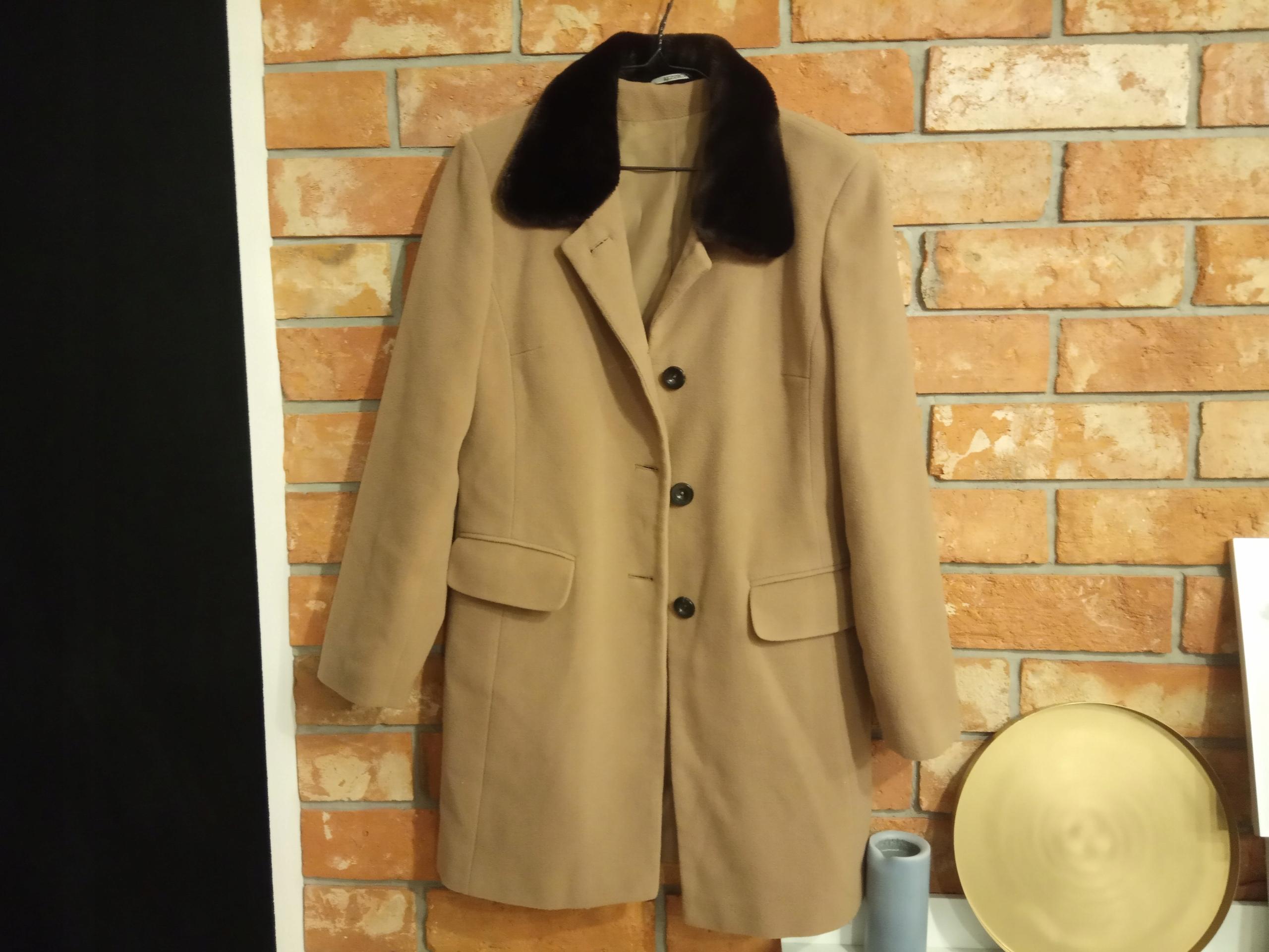Brązowy prosty płaszcz ciepły WEŁNA r. 40 L
