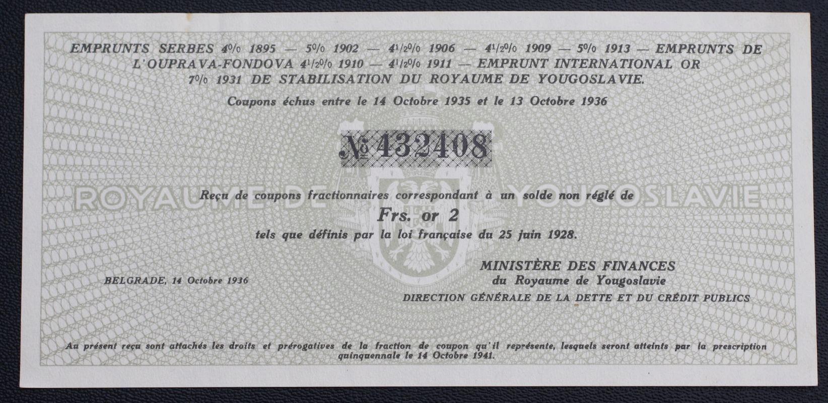 #Papiery wartościowe. Belgrade 1936 ...od3,99