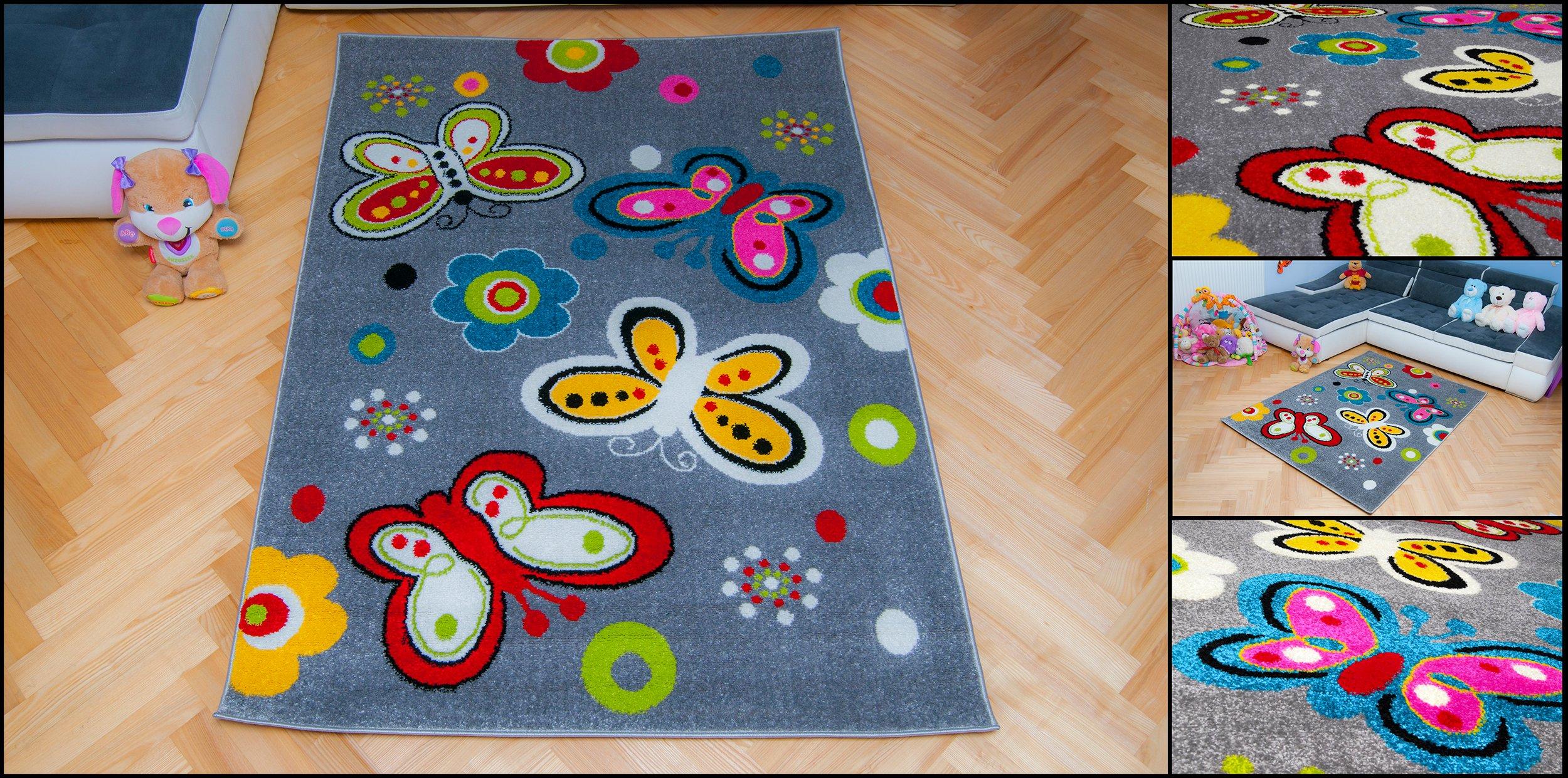 Dywan Dziecięcy Motylki 140x190 Tanie Dywany Szary