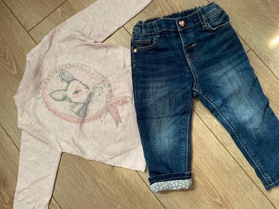 H&M jeansy i sweter Coccodrillo 80 j.nowe