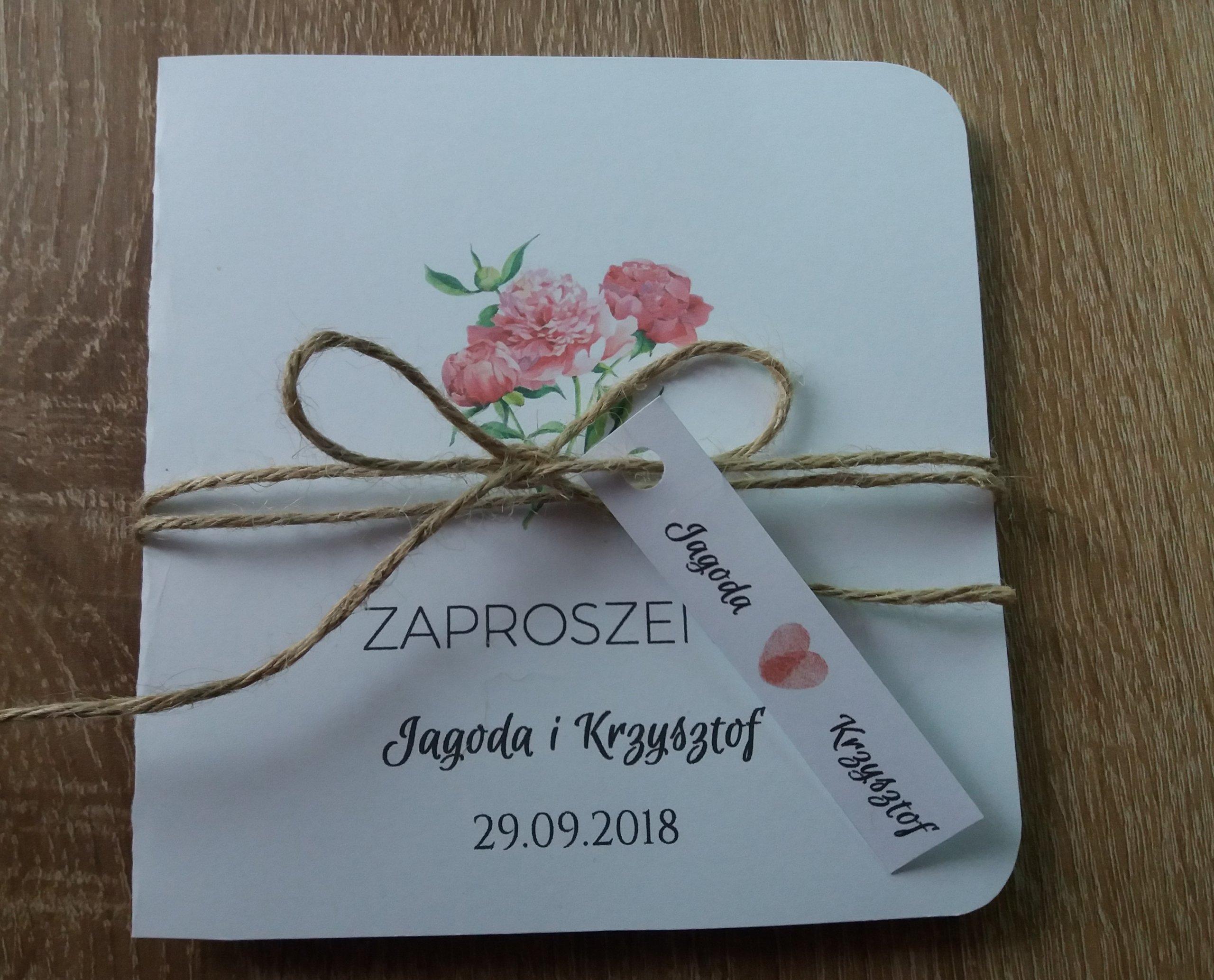 Zaproszenia Na ślub Wesele Piwonie Eko Sznurek 7239152952