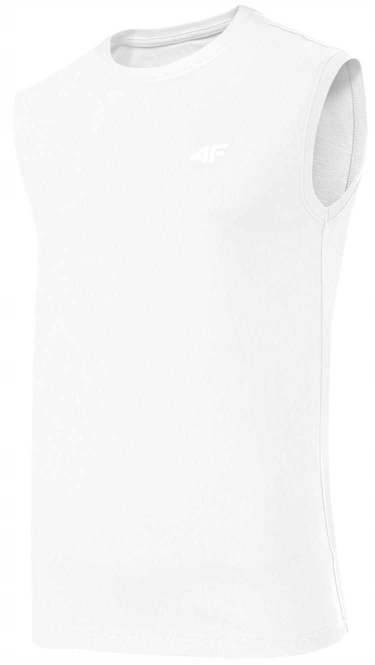 Koszulka Męska 4F Bawełniana BEZRĘKAWNIK BIAŁA M
