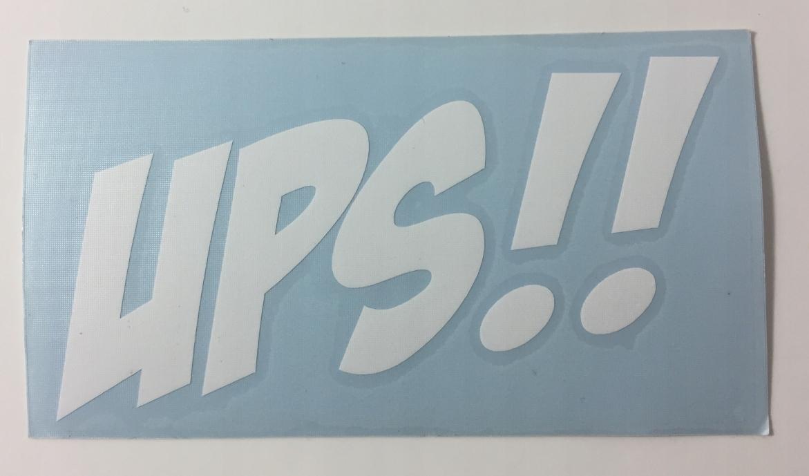 Naklejka - UPS !! 12cm - BIAŁA