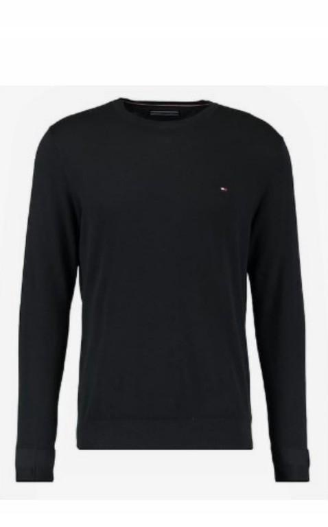 sweter czarny tommy hilfiger pod szyję slim fit XL
