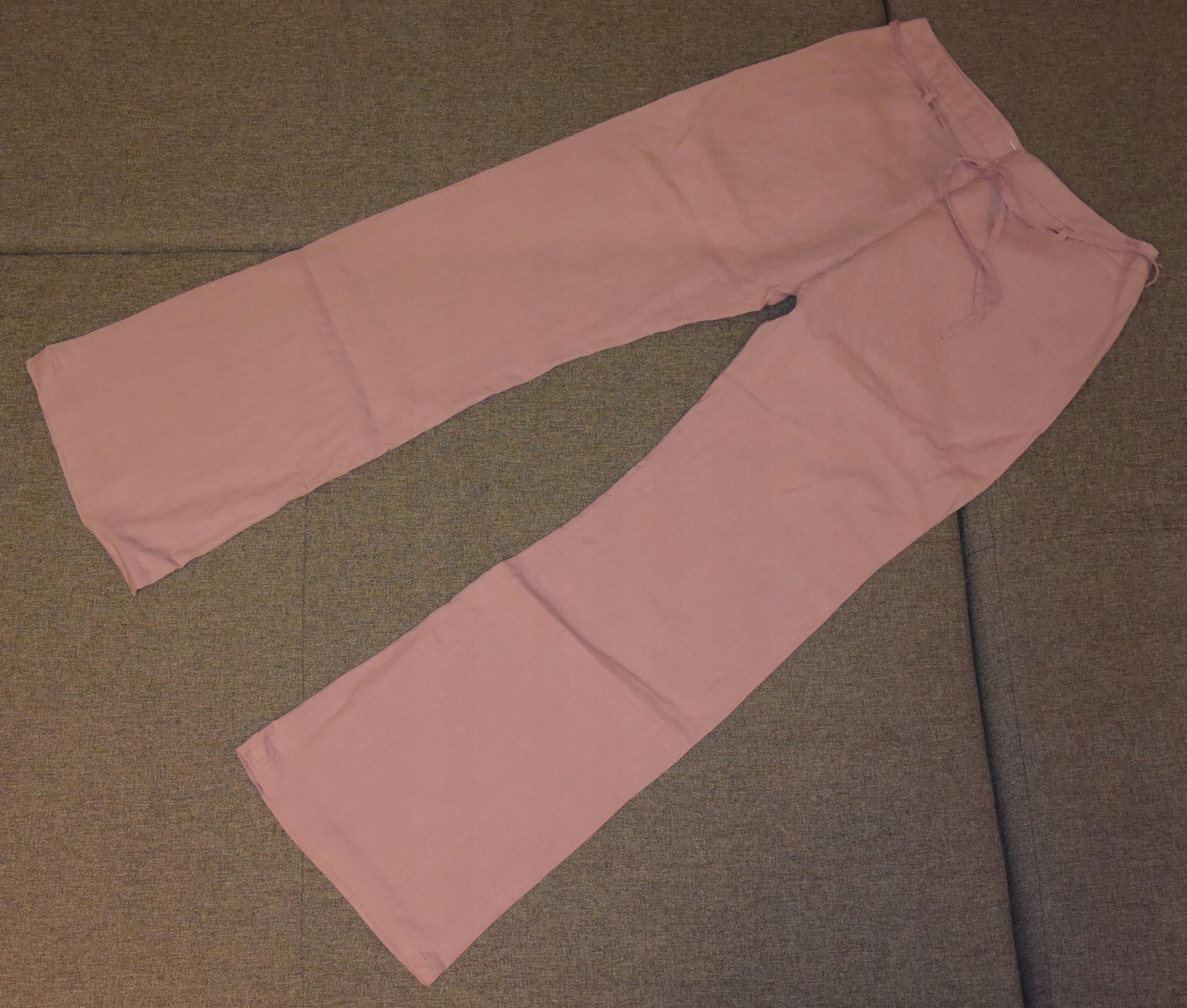 Lekkie spodnie lniane jasny fiolet PROMOD