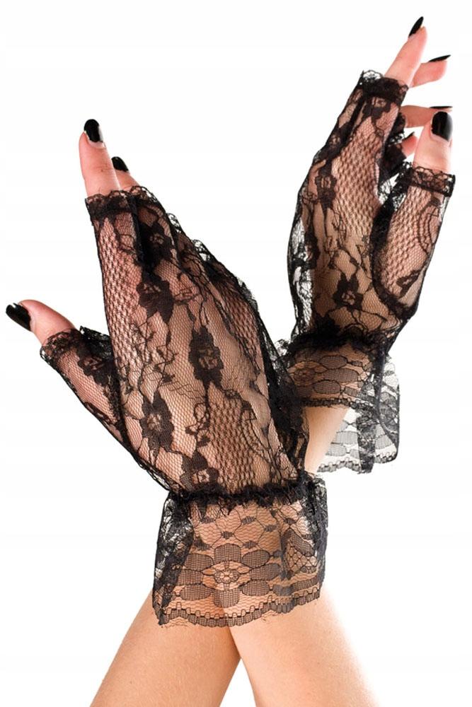 Koronkowe rękawiczki bez palców, czarne