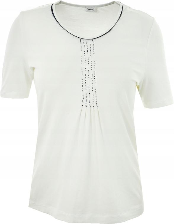 eRR1521 biały t-shirt z koralikami 44