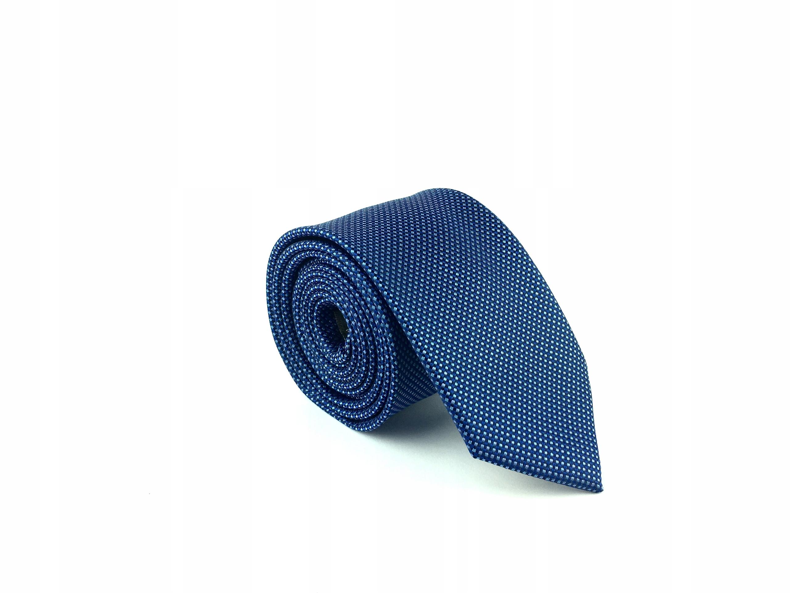 Żakardowy Krawat Męski Granatowy 6cm MB108