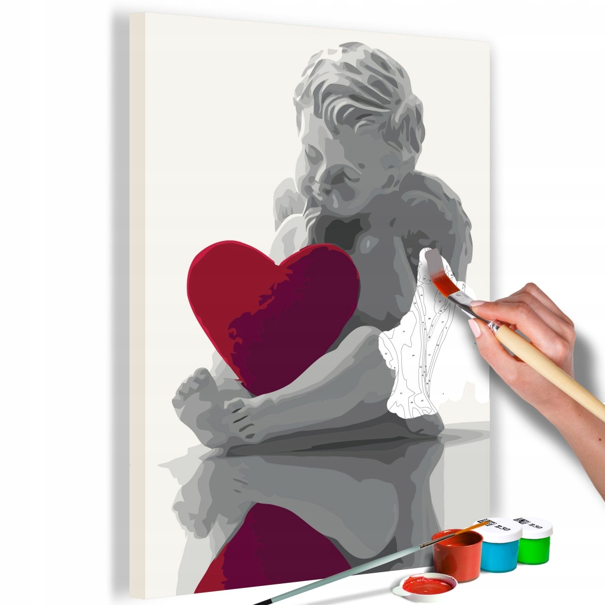 Obraz do samodzielnego malowania - Aniołek (czerwo