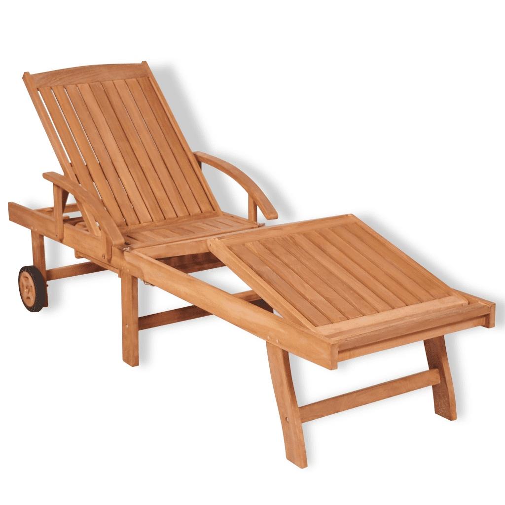 41996 vidaXL Leżak z drewna tekowego, regulowany