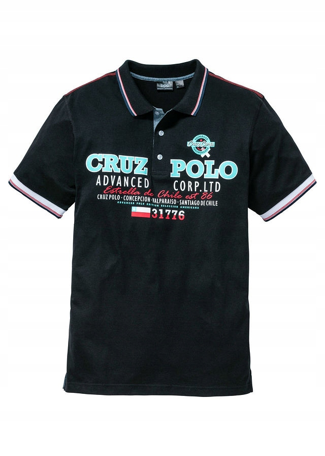 Shirt polo z nadrukiem czarny 44/46 (S) 952464