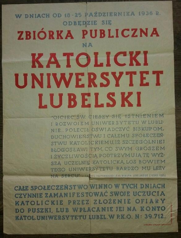 1936 zbiórka na KUL Katolicki Uniwersytet Lubelski