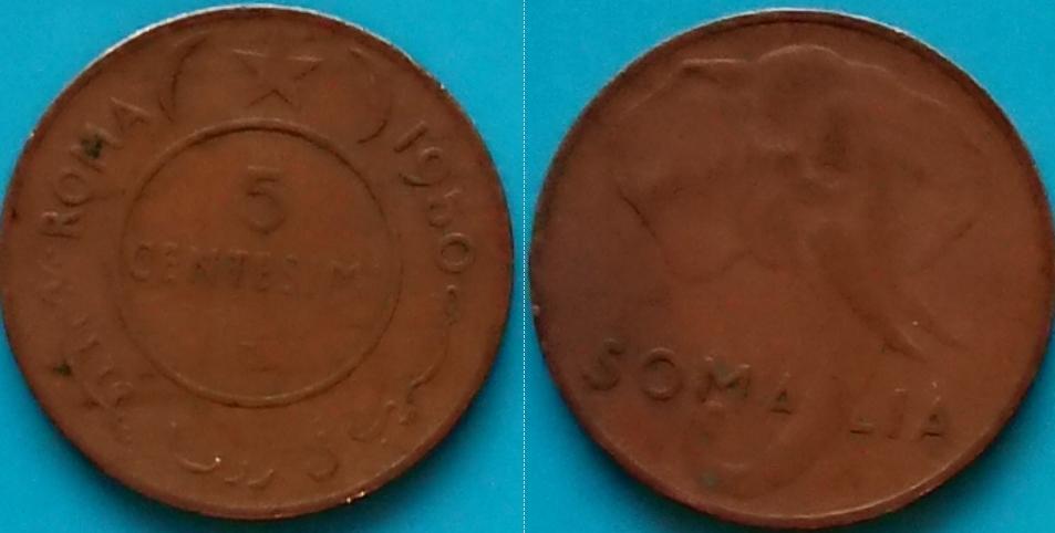 Somalia 5 centesimi 1950r. KM 2