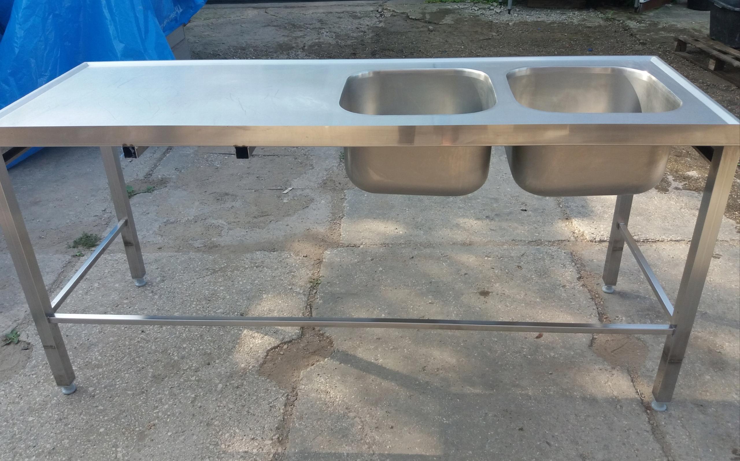 Stół ze zlewem dwukomorowym bez półki 1800x700x850
