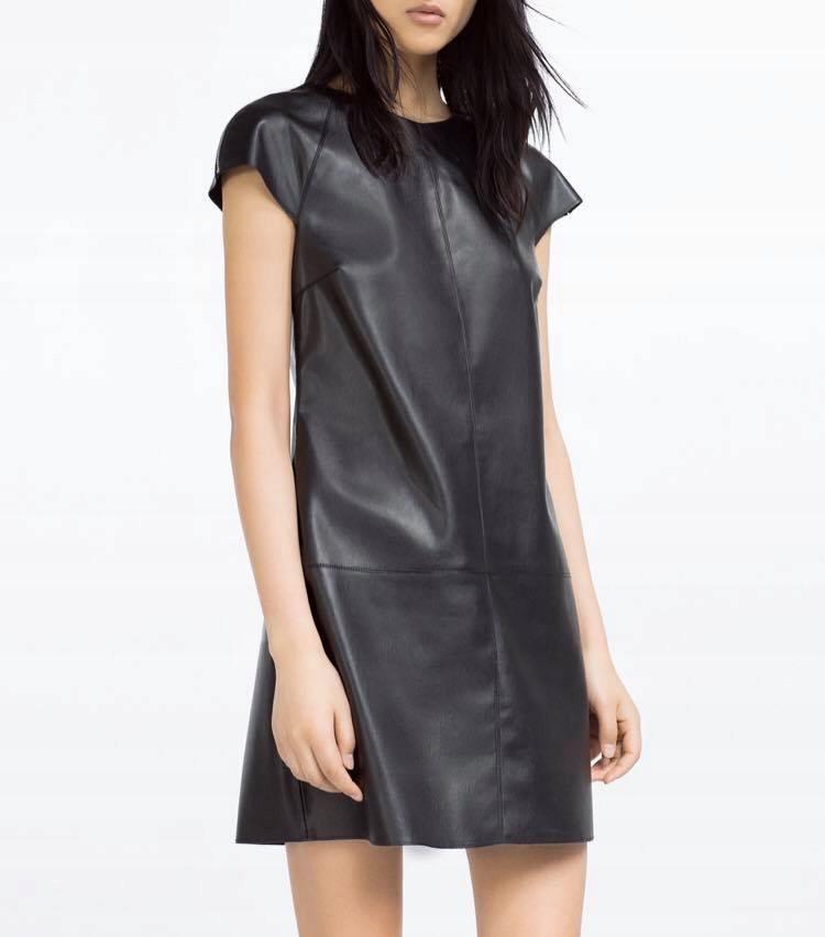ZARA XS 34 sukienka skórzana mini raz ubrana